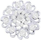 Fako Bijoux® - Broche - Bloem Kristal - 32x32mm - Wit