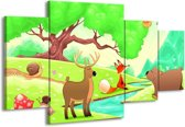 Canvas schilderij Sprookje   Groen, Oranje, Paars   160x90cm 4Luik