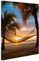 Hangmat op het Caribische strand Canvas 20x30 cm - klein - Foto print op Canvas schilderij (Wanddecoratie woonkamer / slaapkamer)