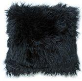 Lavandoux - Fluffy Imitatiebont Sierkussen - 50 x 50 cm - Zwart