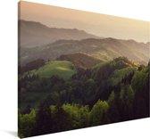 Zonsondergang bij het Duitse Zwarte Woud in Europa Canvas 180x120 cm - Foto print op Canvas schilderij (Wanddecoratie woonkamer / slaapkamer) XXL / Groot formaat!