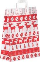 """100 papieren Kersttassen / Kerst draagtassen / Kersttasjes 18x8x22cm """"white elk"""""""