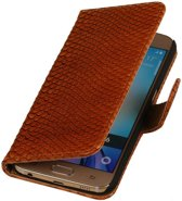 Samsung Galaxy S4 Mini - Slang Bruin Bookstyle Wallet Hoesje