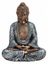 Boeddha beeldje brons/zilver 23 cm
