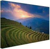 FotoCadeau.nl - Rijstveld zonsondergang Canvas 120x80 cm - Foto print op Canvas schilderij (Wanddecoratie)