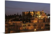 Verlichte huizen in de stad Jeruzalem in Azië Aluminium 180x120 cm - Foto print op Aluminium (metaal wanddecoratie) XXL / Groot formaat!