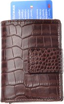 Leather Design – Billfold & Figuretta cardprotector & ritssluiting vak – croco brown