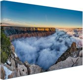 Wolk Grand Canyon bij zonsopgang Canvas 80x60 cm - Foto print op Canvas schilderij (Wanddecoratie)