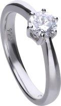 Diamonfire - Zilveren ring met steen Maat 19.0 - Steenmaat 5.65 mm - Chatonzetting