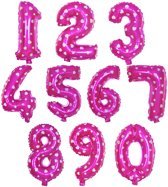 Cijfer ballon 4 roze met hartjes