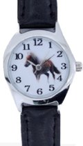 Horloge- Kinder- Paard - Zwart- 28 mm- Leer bandje