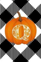 Q: Cute Pumpkin Monogram Initial Letter Q White Buffalo Plaid Check Personalized Gratitude Journal for Women and Girls