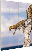 Springende luipaard Hout 20x30 cm - klein - Foto print op Hout (Wanddecoratie)