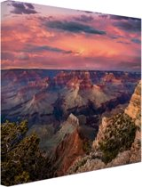 Zonsondergang Grand Canyon Canvas 30x20 cm - Foto print op Canvas schilderij (Wanddecoratie)