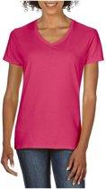Basic V-hals t-shirt fuchsia roze voor dames - Casual shirts - Dameskleding t-shirt fuchsia roze M (38/50)