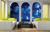 Fotobehang Vlies   Nacht, Modern   Blauw   368x254cm (bxh)
