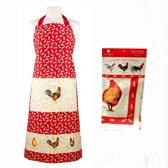 Ashdene haan keukenschort + theedoek + 2 pannenlappen dieren cadeaus keukentextiel