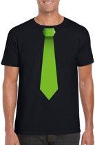 Zwart t-shirt met groene stropdas heren M