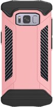 Let op type!! Samsung Galaxy S8 Robuust pantser beschermend TPU + metaal back cover Hoesje (roze goudkleurig)