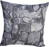 Kopu Stone Wall - Sierkussen - 40x40 cm - Grijs