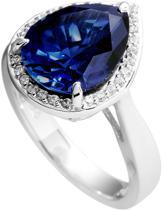 Diamonfire - Zilveren ring met steen Maat 19.5 - Blauwe steen druppelvorm - Pav' rand