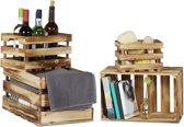 relaxdays houten kisten set van 4, kistje, vintage, fietskrat, opbergkrat shabby
