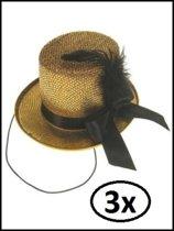 3x Midi hoge hoed glitter + deco goud