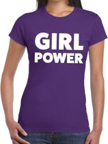 Girl Power tekst t-shirt paars dames - dames shirt Girl Power M