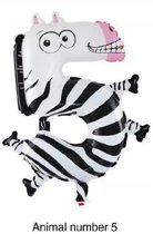Folieballon XL - Dieren - 55cm - Cijfer 5 - Zebra