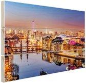 Panorama van Berlijn bij schemering Hout 80x60 cm - Foto print op Hout (Wanddecoratie)
