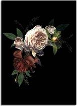 DesignClaud Vintage boeket bloemen poster - Bloemstillevens - Zwart Wit Groen A4 + Fotolijst wit
