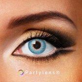 Partylenzen - Shiny Blue - jaarlenzen inclusief lenzendoosje - kleurlenzen Partylens®