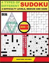 4 Types of Different Sudoku. 2 Difficulty Levels, Medium and Hard. 400 Collection Puzzles