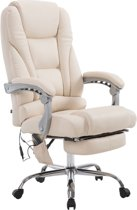 Clp Bureaustoel PACIFIC - Met massagefunctie - Kunstleer - Crème