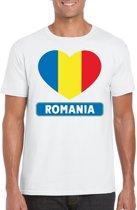 Roemenie t-shirt met Roemeense vlag in hart wit heren S