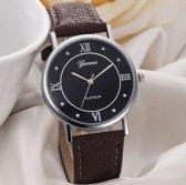 Hidzo Horloge Geneve Platinum ø 37 mm - Bruin - In horlogedoosje