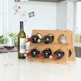 Design wijnrek van bamboe hout voor 6 flessen wijn - Chique wijnflessenrek / flessenrek - Decopatent®