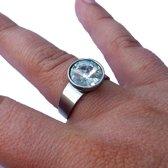 Ring van edelstaal met grote zuivere zirkoon - 18 mm