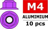Team Corally - Aluminium zelfborgende zeskantmoer met flens - M4 - Paars - 10 st