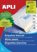 Apli Witte etiketten ft 63,5 x 38,1 mm (b x h), 2.100 stuks, 21 per blad (2414)