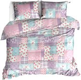 Roomture dekbedovertrek - lits jumeaux - 240x200/220 - patchwork - roze