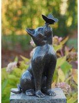 Bronzen Beeld: Kat met vlinder