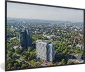Foto in lijst - Luchtfoto van Dortmund in Duitsland fotolijst zwart 60x40 cm - Poster in lijst (Wanddecoratie woonkamer / slaapkamer)