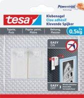 8x Tesa 77772 Klevende spijker voor Behang en Pleisterwerk, draagvermogen 500 gram, blister a 2 stuks