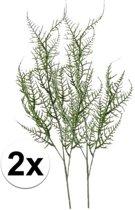 2x Groene kunst Asparagus tak 73 cm  - Kunstbloemen