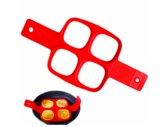 ProductGoods - Siliconen Bakvorm Ei Pannenkoek – Bakvorm Flipper - Maak de perfecte pannenkoeken gebakken eieren en omeletjes - Bakvorm ei – Bak eenvoudig 4 Gelijke Gerechten – Model Vierkant