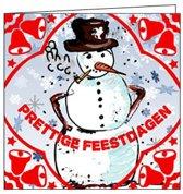 Vrolijke Kerstkaart met Sneeuwpop - kerst - feestdagen - set van 10 kerstkaarten