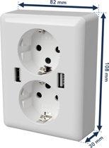 2USB easyCharge DUO - Dubbel USB stopcontact met 2 USB-uitgangen 12W/2.4A