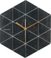 Karlsson Marble Hexagon - Wandklok - Marmer - Zwart