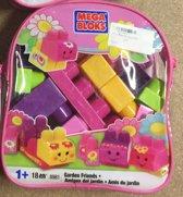 Mega Bloks speel blokken set 18 stuks in handige paars lila tas